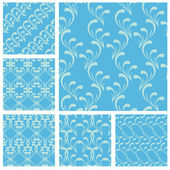 Set of fabric textures in light blue colors - seamless patterns. — Stockvector