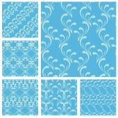 Set of fabric textures in light blue colors - seamless patterns. — Stock Vector
