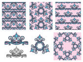 Set of seamless patterns - floral ornaments and elements.  — Stock Vector