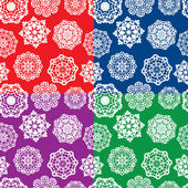 Set of seamless patterns with Decorative paper snowflakes. White — Vector de stock