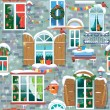 Naadloze patroon met decoratieve Windows in de winter. Kiest — Stockvector  #57243219