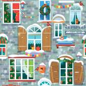 Seamless pattern with decorative Windows in winter time. Christm — Wektor stockowy