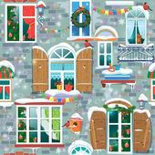 Seamless pattern with decorative Windows in winter time. Christm — Vetor de Stock