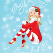 Blond Pin Up Christmas Girl wearing Santa Claus suit and stockin — Stock Vector #57654573