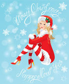 Blond Pin Up Christmas Girl wearing Santa Claus suit and stockin — Stock Vector