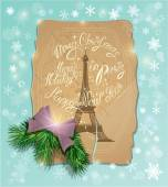 Vintage postcard with the eiffel tower, Handwritten calligraphic — Stock Vector