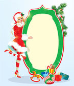 Blond xmas Girl wearing Santa Claus suit staying next to frame.  — Stock Vector