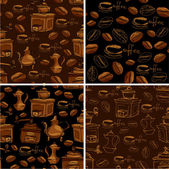 Set of 4 seamless patterns with handdrawn coffee cups, beans, gr — Stock Vector