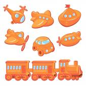 Set of boys toys - transport cartoons - train, car, plane, ship, — Stock Vector