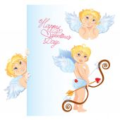 Set of cute angels. Elements for Valentines Day card design.  — Stock Vector