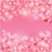 Valentine's day background with hearts and lights - holiday pink — Stock Vector