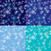 Seamless pattern with Blurred Christmas Lights and snowflakes fo — Stock Vector