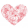 Heart shape is made of hand drawn beautiful flowers, isolated on — Stock Vector #60277123