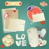 Set of vintage postcards, vintage papers and labels, hearts for  — Stock Vector