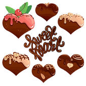 Set of Chocolate hearts in white and dark chocolate and strawber — Stock Vector