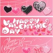 Set of 3 horizontal banners. Happy Valentines Day. Calligraphic — Stock Vector #62006791