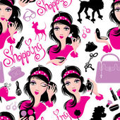 Seamless pattern for fashion Design, glamor lovely girls using d — Stock Vector