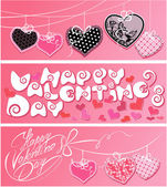 Set of 3 horizontal banners. Happy Valentines Day. Calligraphic — Stock Vector