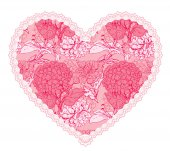 Pink fine lace heart with floral pattern. Design element for wed — Stock Vector