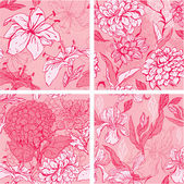 Set of 4 Floral Seamless Patterns in pink colors with handdrawn — Stock Vector
