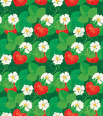 Seamless pattern with Strawberries in heart shapes with flowers  — Stock Vector