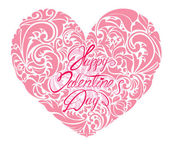 Pink ornamental floral heart with calligraphic text Happy Valent — Wektor stockowy