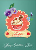 Holiday card with decorated sweet cupcake, flovers, vintage fram — Stock Vector