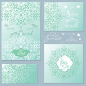 Set of Wedding invitation cards with floral elements, handwritte — Stock Vector