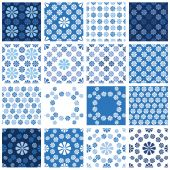 Set of seamless patterns - blue floral ornament  — Stock Vector