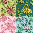 Set of seamless backgrounds - Floral Seamless Pattern with hand — Stock Vector #64666941