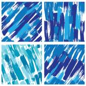 Set of seamless pattern with blots and ink splashes in blue colo — Stock Vector