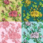Set of seamless backgrounds - Floral Seamless Pattern with hand — Stock Vector