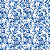 Seamless blue floral pattern. Background in the style of Chinese — Stock Vector