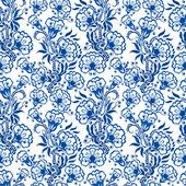 Bezešvé modrým květinovým vzorem. Pozadí ve stylu čínských — Stock vektor