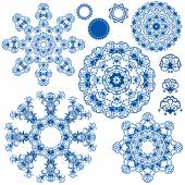Set of  blue floral circle patterns. Background in the style of  — Stock Vector
