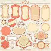 Vintage labels set in pink and beige colors with ornamental deta — Stock Vector