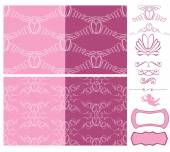 Set of wedding seamless patterns - ornaments with wedding rings — Stock Vector