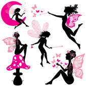 Set of silhouette fairy girls with butterflies and stars isolate — Stock Vector