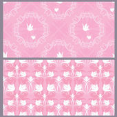 Set of wedding seamless pattern - floral ornament with wedding r — Stock Vector