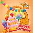 Baby birthday card with girafe, big cake and gift boxes. Four ye — Stock Vector #66832391