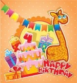 Baby birthday card with girafe, big cake and gift boxes. Four ye — Stock Vector