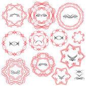 Set of Vintage backgrounds, Guilloche ornamental circle Elements — Stock Vector