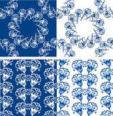 Satz von nahtlosen blau Blumenmuster. Dekorative Backgroun — Stockvektor