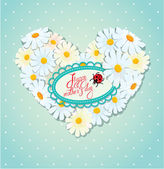 Happy Mother's Day card. Heart is made of daisies on a blue polk — Stock Vector
