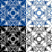 Seamless blue color and black and white floral patterns. Ornamen — Stock Vector