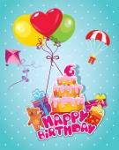 Baby birthday card with teddy bear, balloons, big cake and gift  — Stock Vector