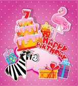Baby birthday card with flamingo and zebra, big cake and gift bo — Stock Vector