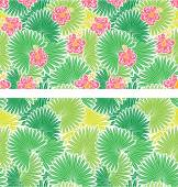 Set of seamless patterns with palm trees leaves  and  Frangipani — Stock Vector
