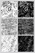 Set of 6 seamless black and white patterns in grunge style. — Vector de stock