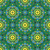 Squared background - ornamental seamless pattern in green, yello — Stock Vector